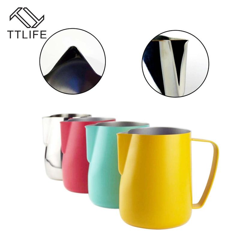 TTLIFE jarra de leche 0,3-0.6L de acero inoxidable espuma lanzador de flores taza de café vaporizador de leche con leche arte espuma de leche, herramienta de Coffeware
