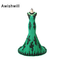 Custom Made O Neck Appliques Sweep Train Mermaid Dress Evening Long Newest Women Formal Pageant Dress Occasion Party