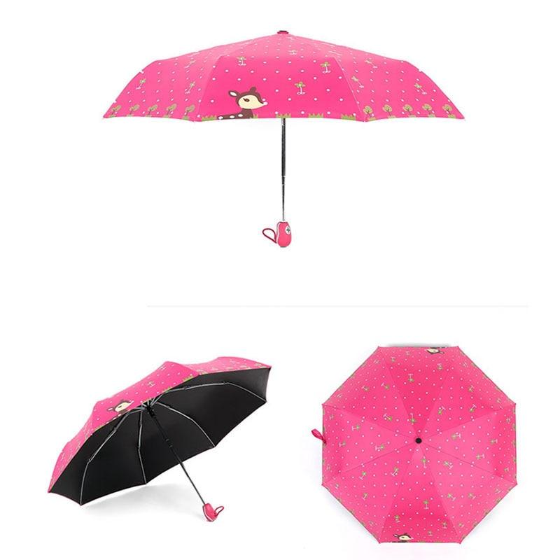 Cute Full Automatic Reinforced Kids Umbrella Three Folding Female Parasol Rain Women Windproof pocket folding