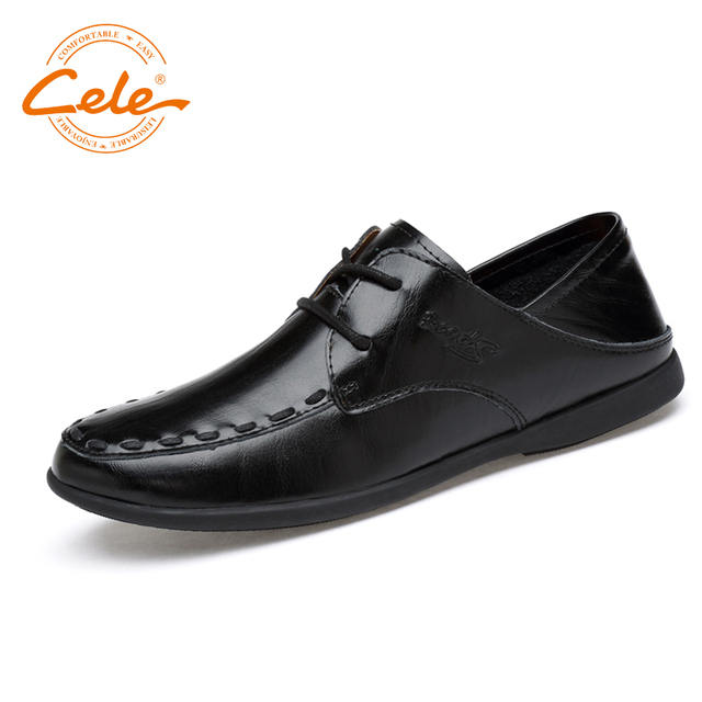 Men's Genuine Leather Casual Lace Up Slip On Loafers Breathable Driving Shoes