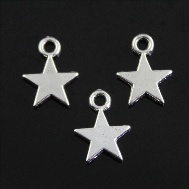 Small Star Pendant Charms Diy Jewelry Making Jewelry Finding 20pcs Antique Silver Color 11x8mm