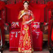 High Quality Red Chinese Traditional Wedding Dresses Women Phoenix Embroidery Cheongsam Long Qipao Dress Bride Traditions все цены