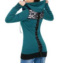 b96cb12e229 Для женщин повязки с длинным рукавом Повседневная блузка кружево на молнии  сзади свитер капюшоном Femmes толстовки