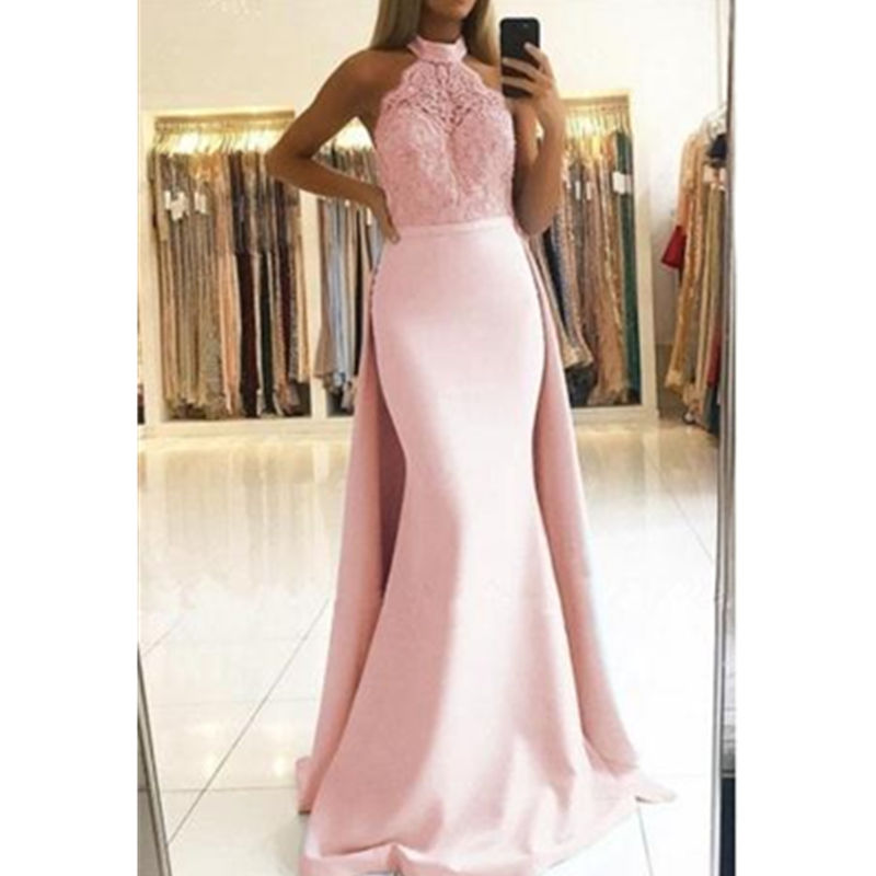 Elegant Halter Lace   Prom     Dresses   3 color Pink Blue Yellow Long Ruffles Evening Gowns Mermaid Evening   Dresses   Robe de soiree