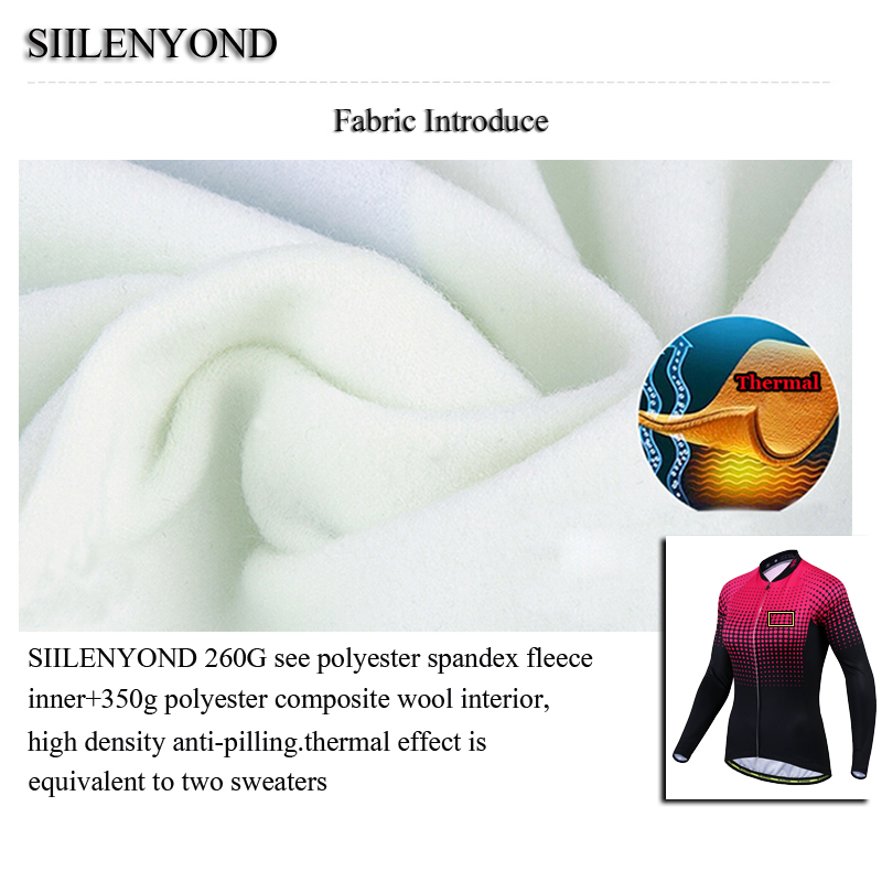 Siilenyond 2019 Women Winter Long Sleeve Cycling Jersey Keep Warm MTB Bicycle Cycling Clothes Thermal Fleece Cycling Clothing 8