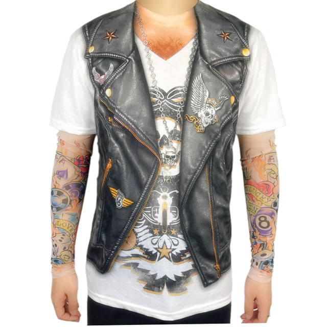 Halloween Party Funny Leather Vest Printed Biker T Shirts for Men Cool Rider Long Sleeve Tattoo Tee Halloween Costumes