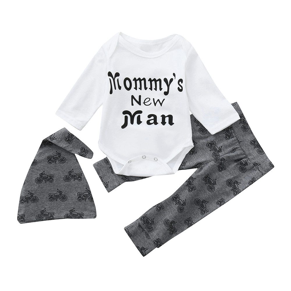 704ed113efe30 Detail Feedback Questions about MUQGEW Hot sale Newborn Infant Baby Boy  Letter Romper Tops Pants Hat Clothes Outfits Set Dropping Baby Clothes on  ...