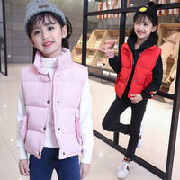 Banku الشتاء أزياء الأطفال القطن بلا أكمام معطف وردي أحمر أسود بسيط لطيف