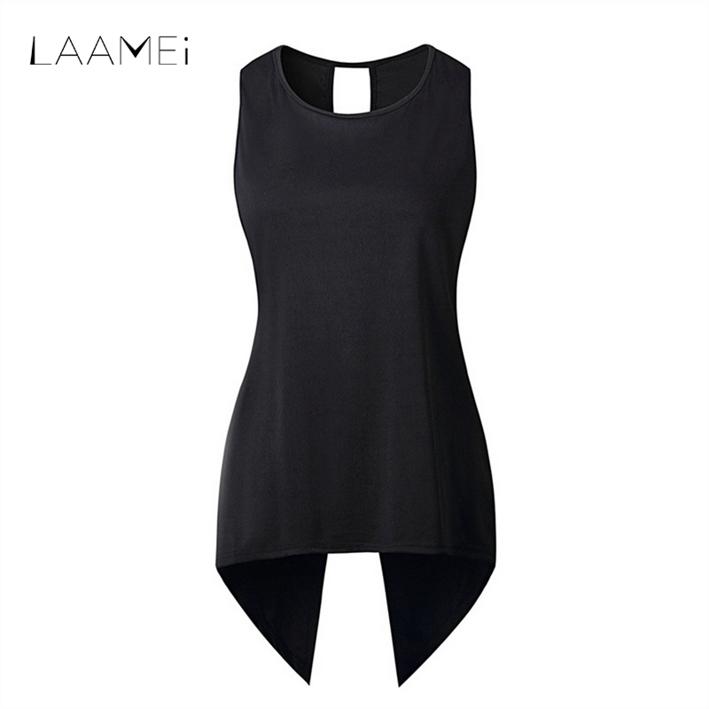 Laamei Back Cross Sleeveless Irregular Women T Shirt New O-neck Long Slim T-shirts Plus Size Tops 2018 Summer