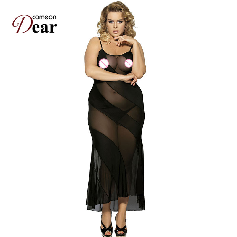RK7389 Comeondear Women Babydoll See Through Mesh Sexy Club Langerie Sexy Erotic Black Sleeveless Fashion 2017