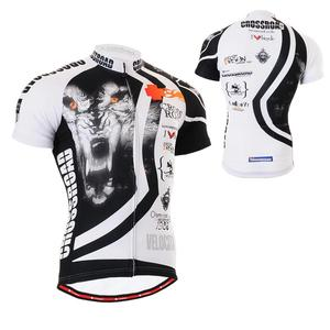 Tecnhnical WOLF CROSS Full Graphic Short Sleeve MTB Mountain Road Bike Jersey W/ Useful 3 Rear-pockets & Non-Slip Silicone Band(China)