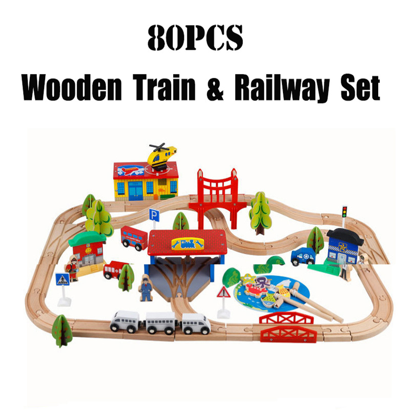 80PCS Airport Traffic Wooden Train Track Set Magnetic Car Model Puzzle Wooden Railway Early Educational Toy For Children Friend