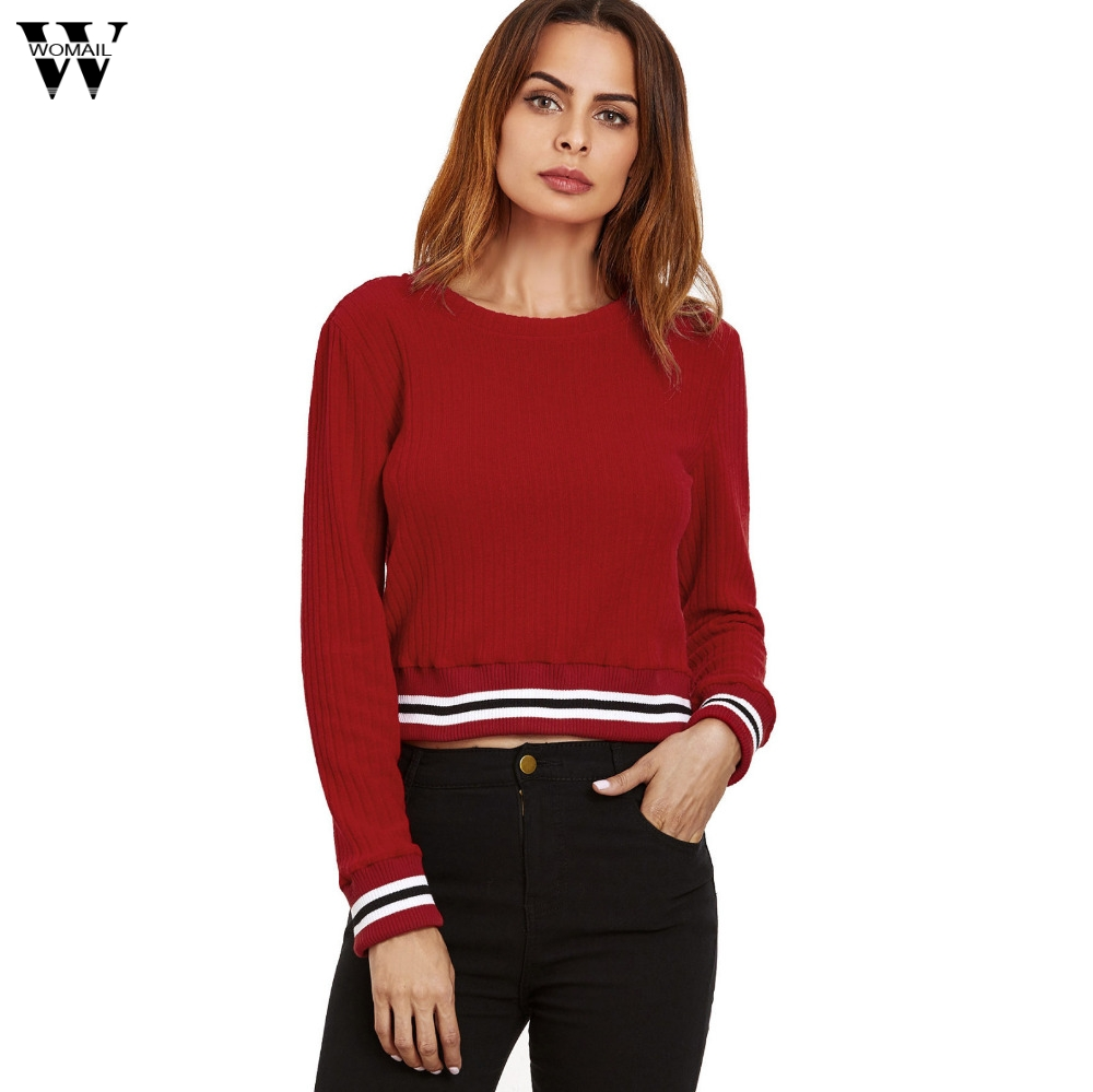 Womail 2018 Women Casual Spell Color Long Sleeve Jumper Sweaters Coat Master Designer Dropship Nov7