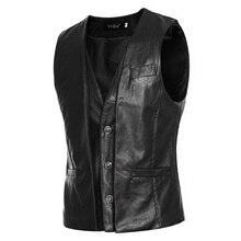 YuWaiJiaRen Motorcycle Leather Vests Spring Autumn Fashion Sleeveless Jacket PU Leather Mens Suit Vest Male Waistcoat