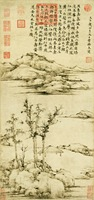 landscape frameless paintings scenery traditional Chinese style canvas painting Ni Zan Rongxizhai masterpiece reproduction