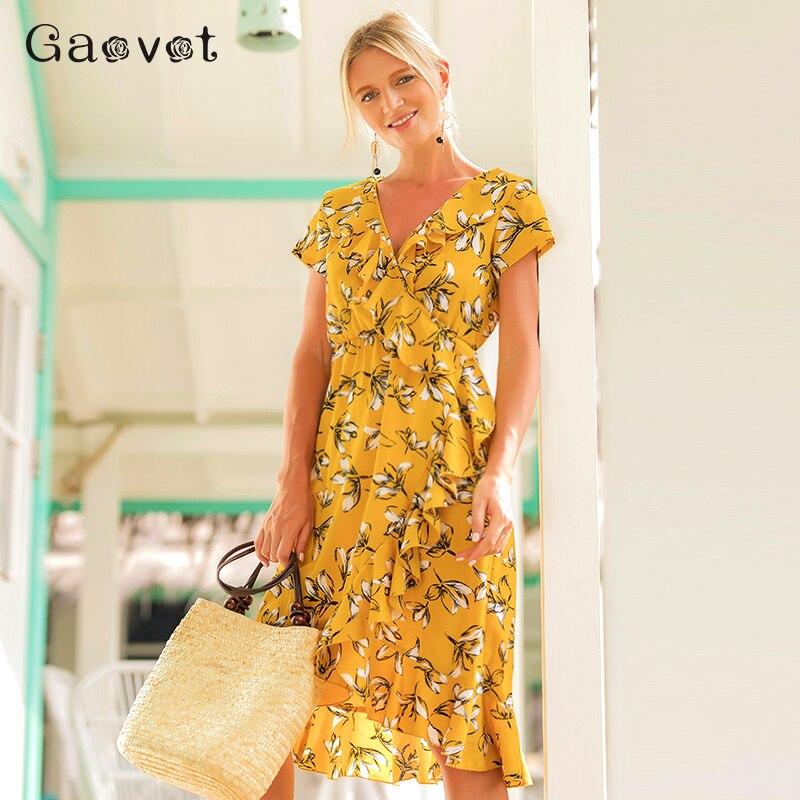 Gaovot 2018 Summer Women Irregular Floral Printed Dresses Ruffles Deep V Neck Short Sleeve Dress Sexy Boho Beach Vestidos S-XL
