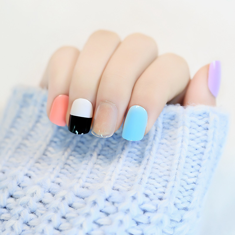 2016 Summer variety of color Fake Nails Spell color mixing nails ...