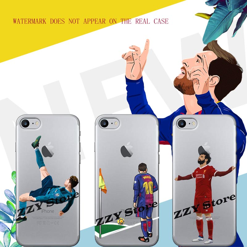 Messi Soccer player Neymar Cristiano ronaldo CR7 Mo Salah TPU Soft Silicone Phone Cases For iPhone SE 5 5S 6 6S 6S 7 Plus 8 X