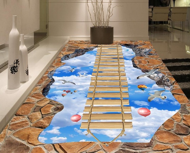 3D Floor Stickers Custom Wooden Bridge Sky Bathroom 3d Floor Waterproof  Self Adhesive 3d Photo