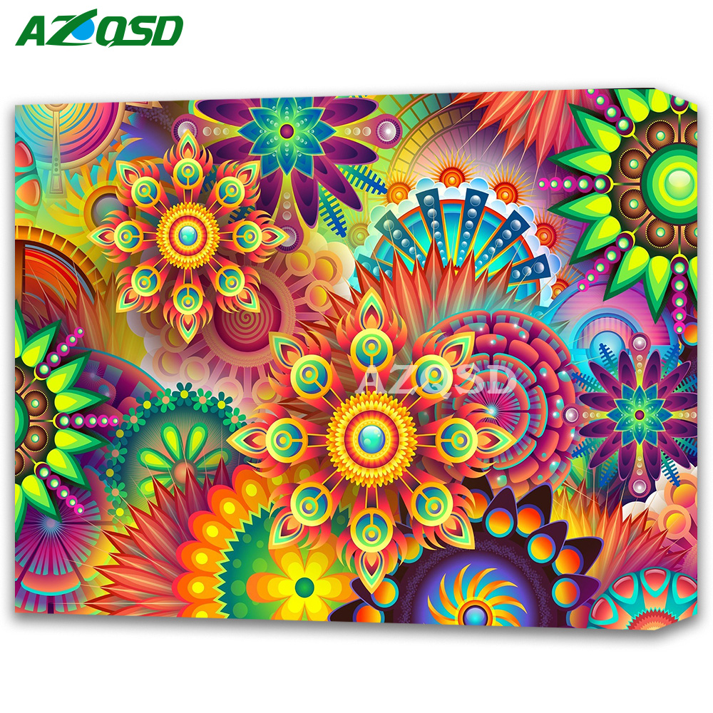 AZQSD Full Diamond Mosaic Abstract Scenic Square Drill 5D Diamond Embroidery Sale Landscape DIY Hobby Home Decor Factory Direct