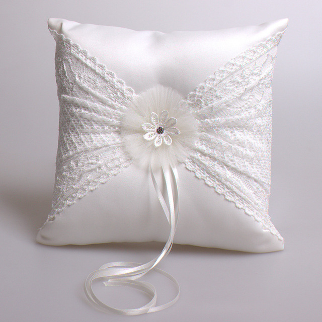 white lace ring pillow satin bridegroom bride wedding ring holder pillow anel travesseiro 2121cm - Wedding Ring Holder