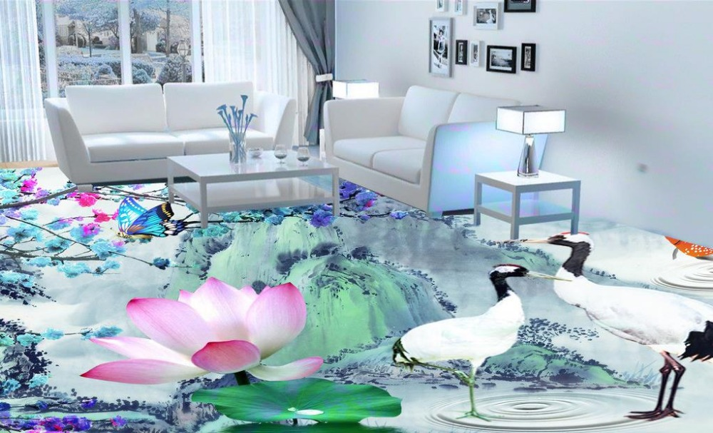 ФОТО Custom 3d floor tiles for livingroom retro ink floor wallpaper waterproof wear non-slip 3d bathroom flooring