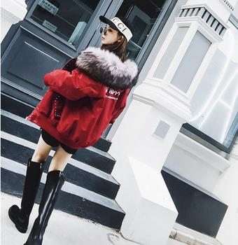 Winter clothing female 2019 new Korean version of the loose bf hip-hop cotton clothing oversize thick large fur colla