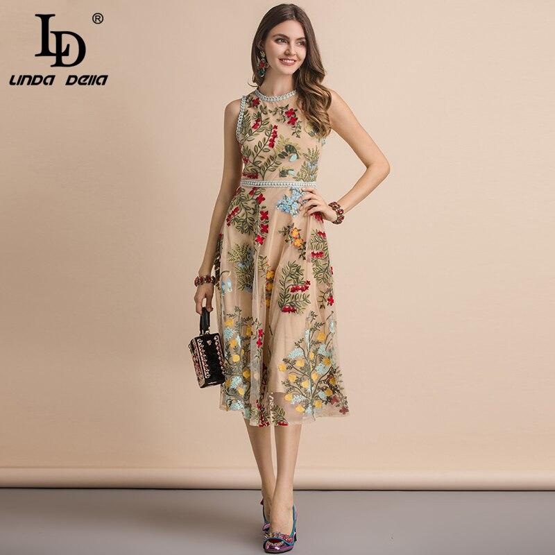 LD LINDA DELLA New 2019 Summer Sleeveless Dress Women 39 s Flower Embroidery Mesh Overlay Temperament Slim Elegant Midi Dresses in Dresses from Women 39 s Clothing