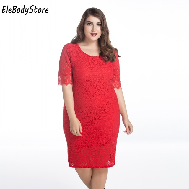 8bca7b84c7f ELEBODYSTORE 2017 Plus Size Women Casual Summer Sexy Lace Dress Woman Midi  Red Dresses Clothing Evening Party 4XL 5XL 6XL 7XL
