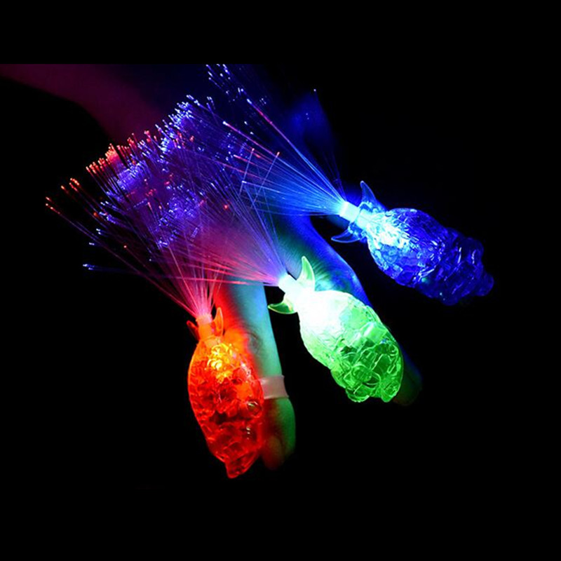 Colorful LED Flashing Fish Fiber Finger Light Glowing Beam Torch Rings Children Adults Nightclub Rave Glow Party Supplies