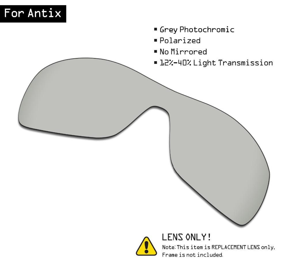 SmartVLT Polarized Sunglasses Replacement Lenses For Oakley Antix - Grey Photochromic