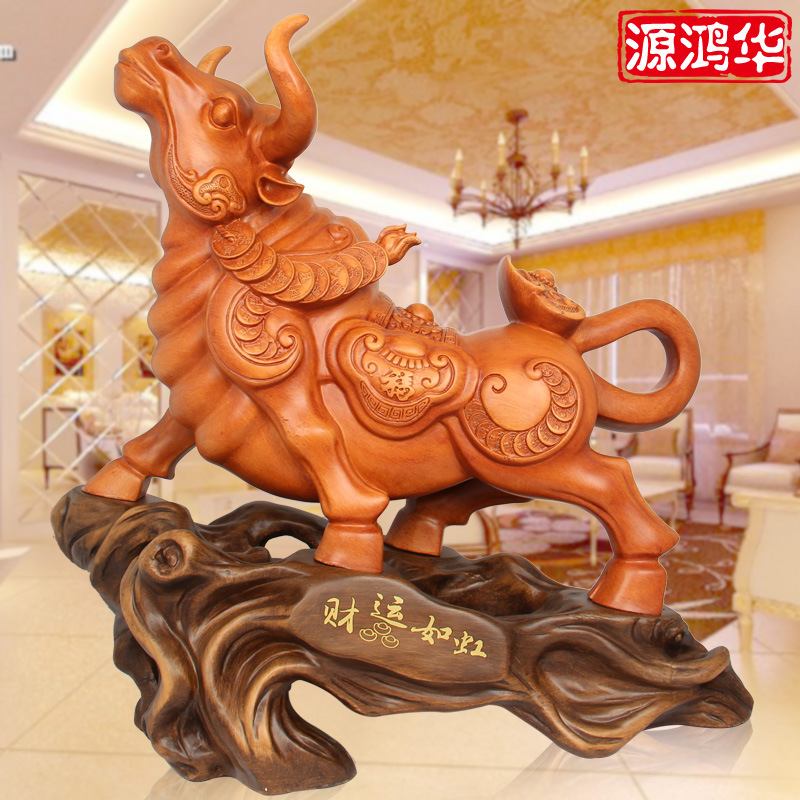 2016 Top Fashion Limited Of Wealth Honghua Rainbow Craft Ornaments Zodiac Cattle Resin Crafts Wholesale Shop Business Gifts