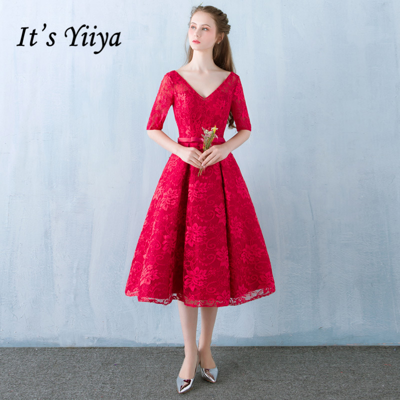 It's YiiYa 2018 Red V-Neck Short Sleeve Fashion Designer Elegant   Cocktail   Gowns Flowers Lace   Cocktail     Dress   LX395