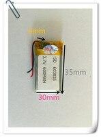 Оптовая Продажа 1000 шт. 3.7 В 600 мАч 603035 литий полимерный lipo Перезаряжаемые Батарея для MP3 MP4 Pad DVD DIY E Book bluetooth