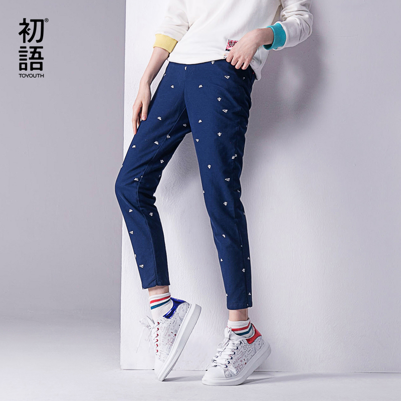 Toyouth 2017 Autumn New Pants Women Printed Casual Cotton Straight Trousers Full Length Pants