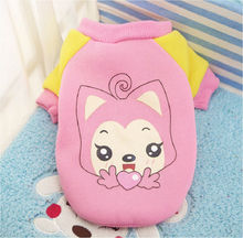 FD43 Free shipping Winter Pet dog cotton sweater Lovely Warm Cartoon Character Winter Vest for Puppy Small dog hoodies clothes