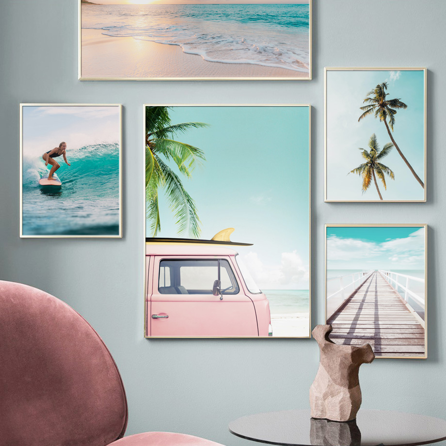 Image 2 - Surfing Girl Bridge Sea Beach Landscape Wall Art Canvas Painting Nordic Posters And Prints Wall Pictures For Living Room Decor-in Painting & Calligraphy from Home & Garden