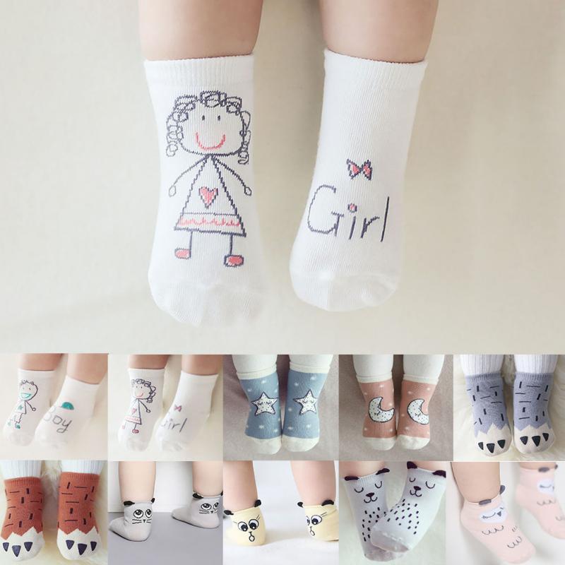 2019 New Baby Autumn/Winter Cartoon Asymmetry Cute Toddler Anti-slip Spring Socks Cotton Floor Socks Kids Socks For Children