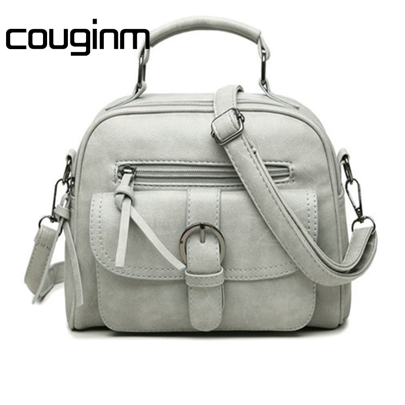 COUGINM New Arrival Fashion Women Shoulder Bag Casual Simple Totes Fresh Cherry Messenger Matte PU Leather Hand Bag new arrival fashion color stitching simple silver buckle casual chain handbag women s shoulder bag across body messenger totes
