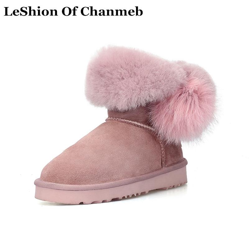 De 2019 gray Cuir Chaussures Boots Froid Fourrure Snow Black En Plus 43  Haute Boule Thermique Femmes Hiver Neige Rose Véritable ... 0bc5cc1108e7