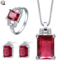 Fashion Silver Jewelry Sets for Women Red Blue Crystal Pendant Necklace Stud Earrings Ring Party 3pcs