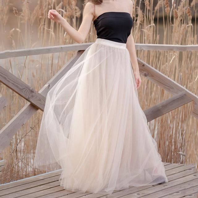 82e7dec350bb Custom Graceful Long Tulle Skirts Floor Length Wedding 5 Layers Blush Soft  Secret Bridesmaid Skirts Vintage Party Skirt 5XL