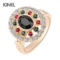 Vintage Crystal Jewelry Artificial Zircon Rings For Women Colorful Resin Plating Gold  Turkish Oval Anillos Sell Cheap