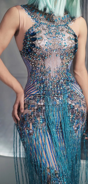Women New Glisten Blue Rhinestones Tassels Sleeveless Long Dress Sexy Singer Performance Elastic Skinny Dress Bar Party Costume 4