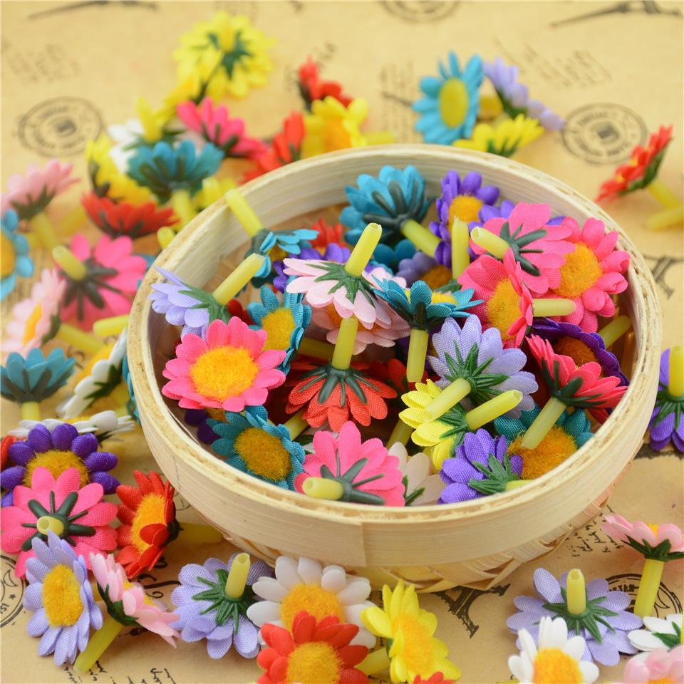 Flower heads for crafts - 30pcs Lot 2cm Cheap Silk Flash Mini Artificial Daisy Flower Head For Wedding Decoration Diy