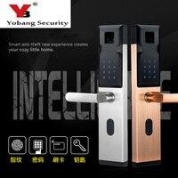 YobangSecurity Smart Electronic Door Lock Fingerprint+Password+4 Cards+2 Mechanical Keys Anti theft Intelligent Door Lock