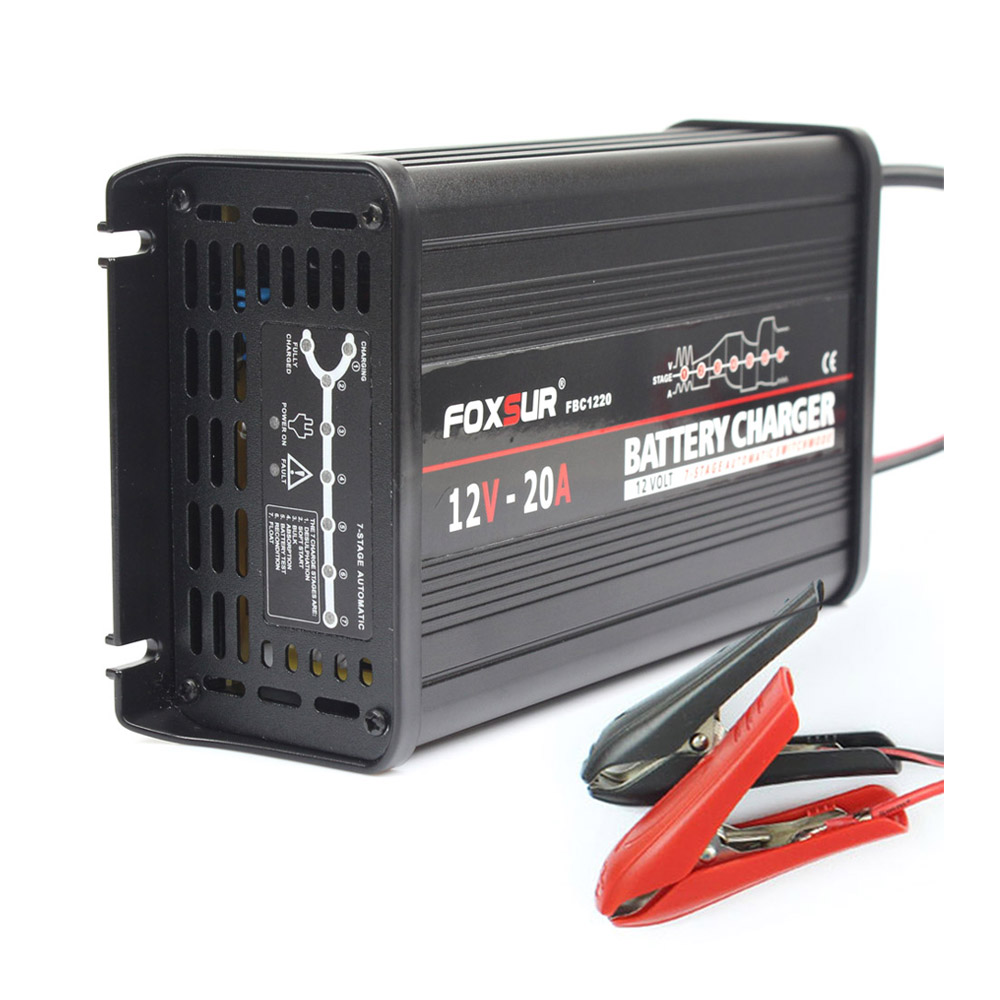 FOXSUR 12V 20A 300W 7-stage Smart Lead Acid Battery Charger Car Vehicle Battery Charger  AGM GEL EFB Battery Charger
