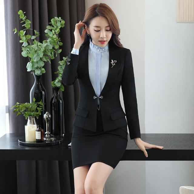 7153e3aed Novedad Negro Uniforme de Gala Trajes de Oficina de Diseño Profesional Con  Tops Y Falda Otoño
