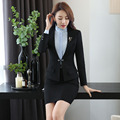Novelty Black Formal Uniform Design Professional Office Suits With Tops And Skirt Autumn Winter Business Women Blazers Outfits