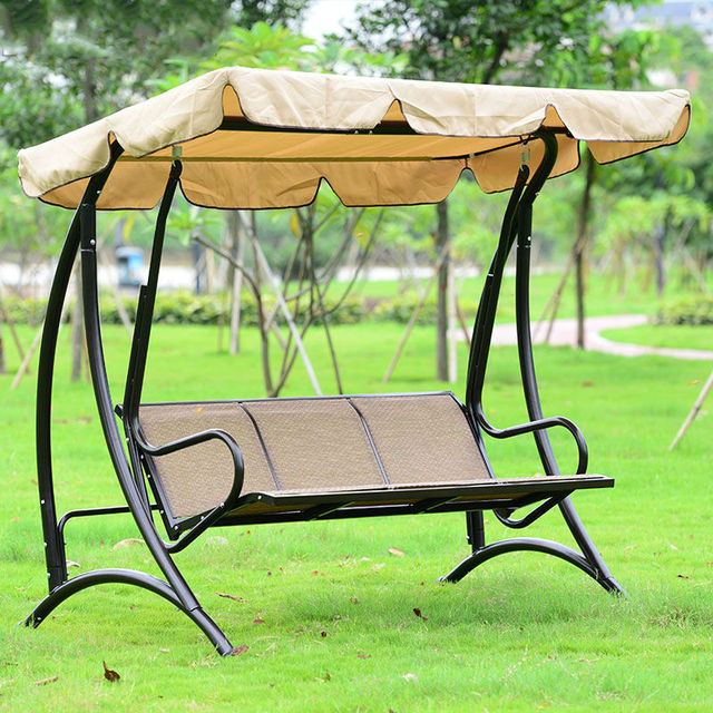 Hawaii Durable iron 3 person canopy garden swing Chair hammock outdoor furniture cover seat bench : 3 seater garden swings with canopy - memphite.com